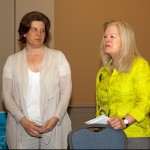 Kate (left) receives SLA fellow pin from Cindy Hill (right)