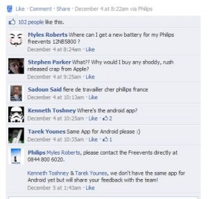 Philips Facebook screenshot